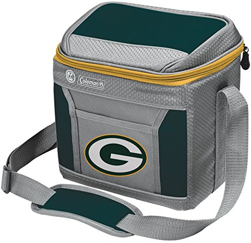 Coleman NFL Soft-Sided Insulated Cooler and Lunch Box Bag, 9-Can Capacity, Green Bay Packers