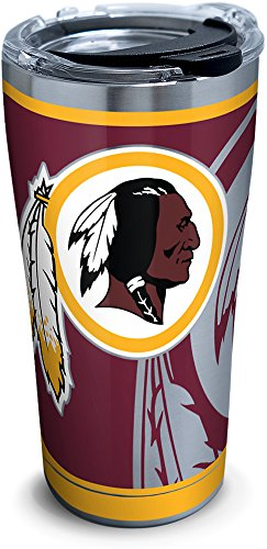 Tervis Washington Redskins Rush Stainless Steel Tumbler With Lid, 20 oz, Silver