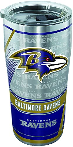 Tervis NFL Baltimore Ravens Edge Stainless Steel Tumbler with Clear and Black Hammer Lid 20oz, Silver