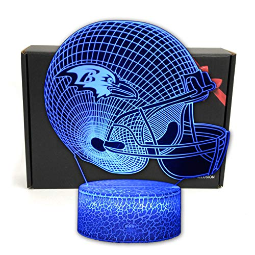 DGLighting NFL Football Team 3D Optical Illusion Smart 7 Colors LED Night Light Table Lamp with USB Power Cable and Smart Button, for NFL Fans Gift (Baltimore Ravens)