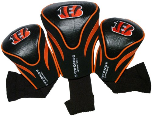 Team Golf NFL Cincinnati Bengals Contour Golf Club Headcovers (3 Count), Numbered 1, 3, & X, Fits Oversized Drivers, Utility, Rescue & Fairway Clubs, Velour lined for Extra Club Protection