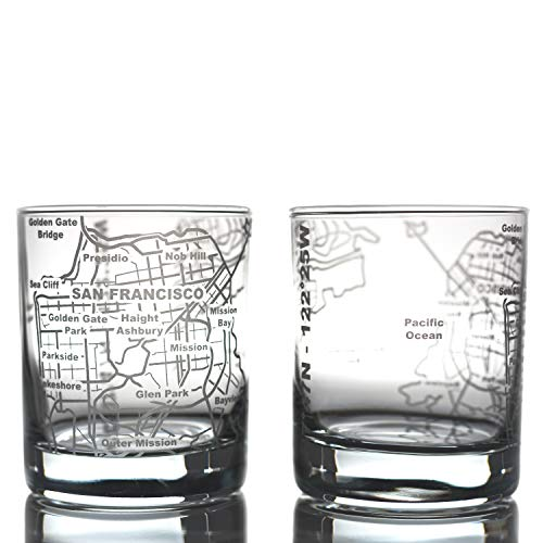 Greenline Goods Whiskey Glasses - 10 Oz Tumbler Gift Set for San Francisco lovers, Etched with San Francisco Map | Old Fashioned Rocks Glass - Set of 2