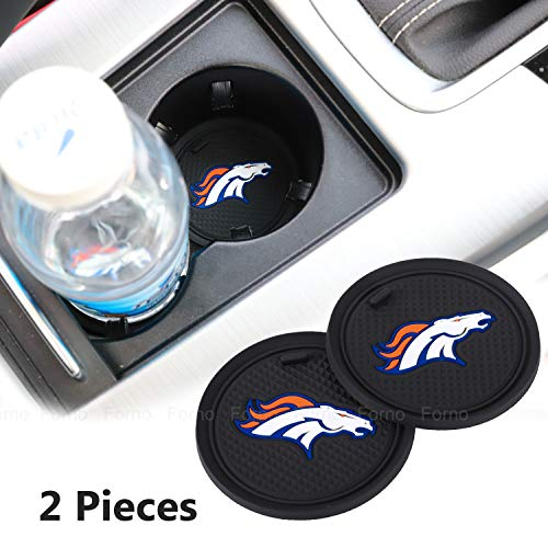 2 Pack 2.75 inch for Denver Broncos Car Interior Accessories Anti Slip Cup Mat for All Vehicles (Denver Broncos)