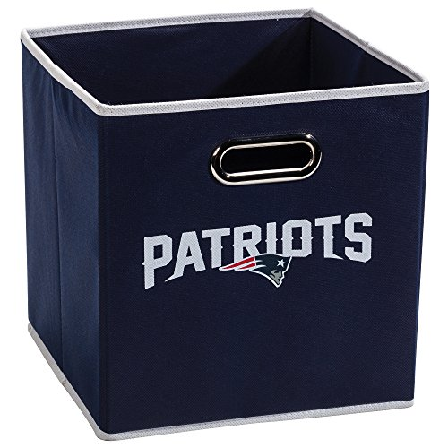 Franklin Sports New England Patriots Collapsible Storage Bin - NFL Folding Cube Storage Container - Fits Bin Organizers - Fabric NFL Team Storage Cube