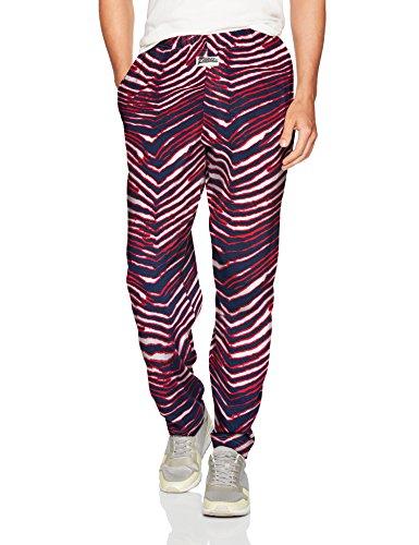 Zubaz Men's Classic Zebra Printed Athletic Lounge Pants, Navy/red, L