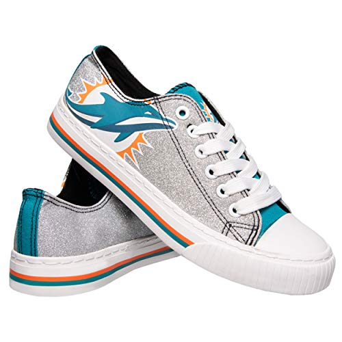 NFL Miami Dolphins Womens Ladies Glitter Low Top Canvas Sneaker Shoesladies Glitter Low Top Canvas Sneaker Shoes, Team Color, 6/Small