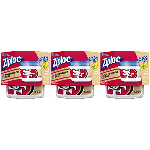 Ziploc Food Storage Meal Prep Containers, Small, 2 Count, Pack of 3 (6 Total Containers), Twist N Loc- NFL San Francisco 49ers