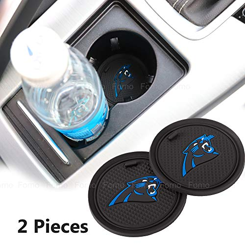 2 Pack 2.75 inch for Carolina Panthers Car Interior Accessories Anti Slip Cup Mat for All Vehicles (Carolina Panthers)