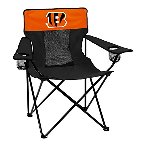 Logo Brands NFL Cincinnati Bengals  Folding Elite Chair with Mesh Back and Carry Bag ,  Black,  One Size