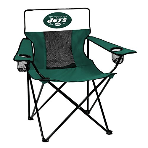 Logo Brands NFL New York Jets  Folding Elite Chair with Mesh Back and Carry Bag ,  Hunter,  One Size