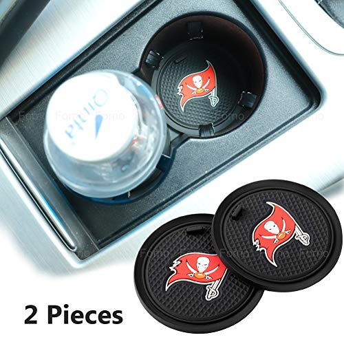 2 Pack 2.75 inch for Tampa Bay Buccaneers Car Interior Accessories Anti Slip Cup Mat for All Vehicles (Tampa Bay Buccaneers)