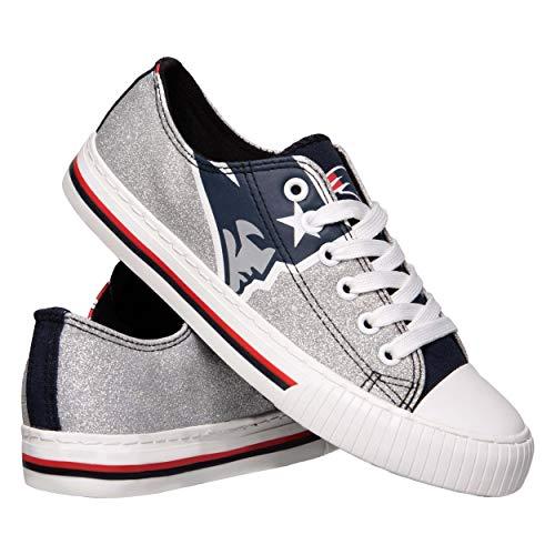 NFL New England Patriots Womens Ladies Glitter Low Top Canvas Sneaker Shoesladies Glitter Low Top Canvas Sneaker Shoes, Team Color, 8/Large