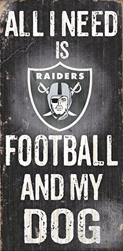 Oakland Raiders Wood Sign - Football and Dog 6'x12'