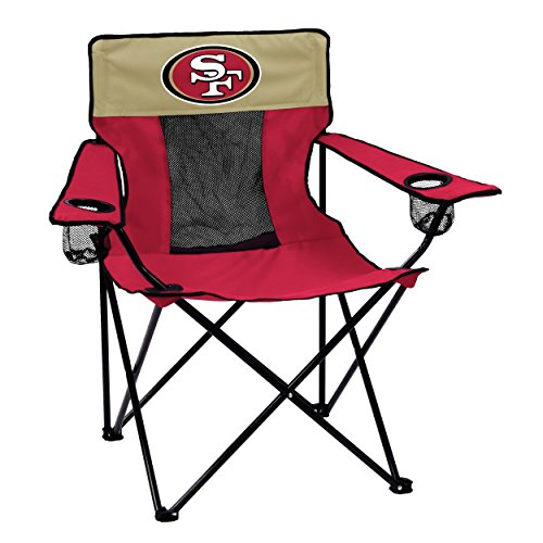 Logo Brands NFL San Francisco 49ers  Folding Elite Chair with Mesh Back and Carry Bag ,  Cardinal,  One Size