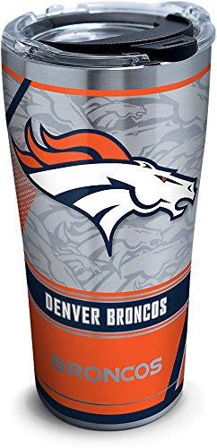 Tervis 1266718 NFL Denver Broncos Edge Stainless Steel Tumbler with Clear and Black Hammer Lid 20oz, Silver