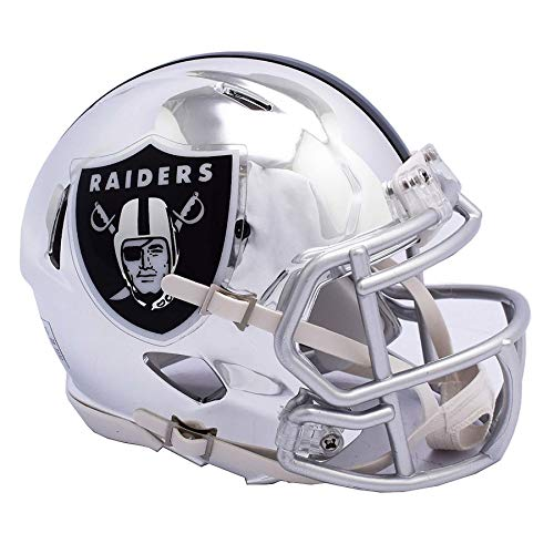 Oakland Raiders Unsigned Chrome Silver Speed Mini Helmet Stock #142989