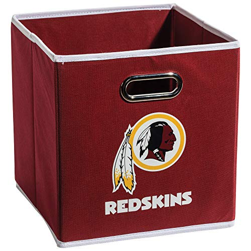 Franklin Sports Washington Redskins Collapsible Storage Bin - NFL Folding Cube Storage Container - Fits Bin Organizers - Fabric NFL Team Storage Cubes