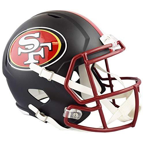 Unsigned San Francisco 49ers Flat Matte Black Full Size Speed Replica Helmet Stock #148088 - NFL Replica Helmets
