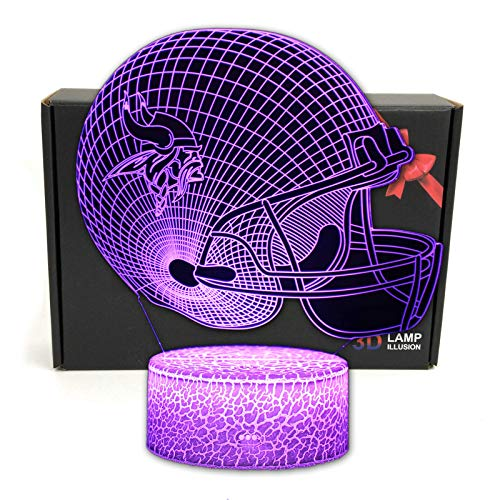 TriPro Football Team 3D Optical Illusion Smart 7 Colors LED Night Light Table Lamp with USB Power Cable and Smart Button, for NFL Fans Gift (Minnesota Vikings)